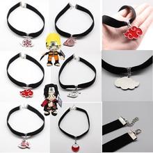 Short Chain Necklace Anime Shuriken Akatsuki Gifts Velvet Black Choker Girls Kunai Uzumaki