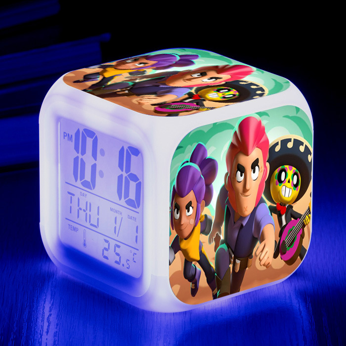 Hot Anime Game Brawl Leon Nita Spike Action Figure Toy Desk Flash Light Clock With Temperature Christmas Gift For Children Kids