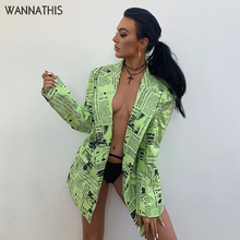 WannaThis Fall Winter Newspaper Print Coat Women Neon Green Fashion Street Casual Long Sleeve Turn-down Collar Jacke Overcoat