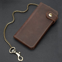 Men Cool Fashion Leather Iron Chain Wallet On Jeans For Men Bifold Long Wallets Male Purse with Inside Zipper Pocket For Phone(China)