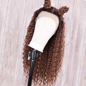 Ombre13 * 4 парик из натуральных волос на кружеве африканские кудрявые двухцветные волосы Remy коричневые короткие боб парики с детскими волосами 13X4 боб парик