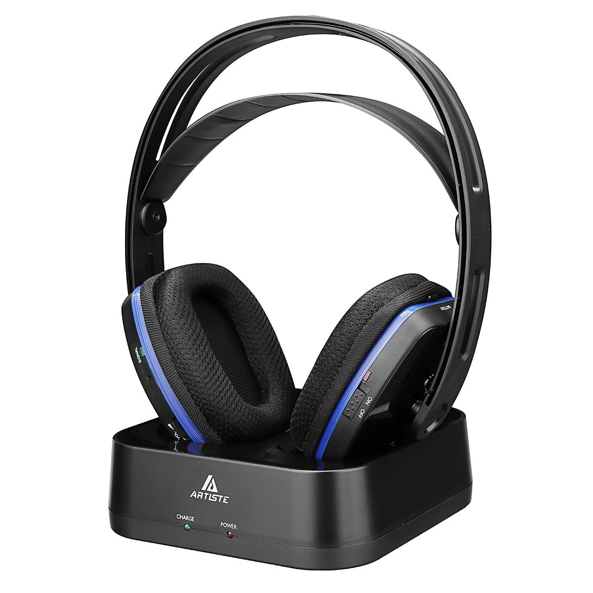 Artiste D2 2.4GHz HiFi Bluetooth Headphone Deep Bass Wireless TV Headphone With Transmitter Dock For Mobile Phone Music