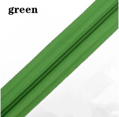 5 м длинная молния нейлон 3# пододеяльник подушка одеяло невидимая молния двойная молния черный и белый - Цвет: GREEN