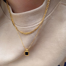 Titanium With 18K Gold Layered Chain Black Stone Necklace Women Jewelry Punk Party T Show Runway Designer Club Japan Korean