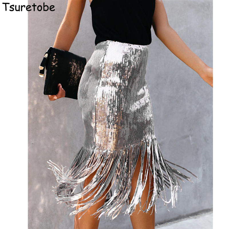 Tsuretobe Autumn Sexy Sequin Tassel Midi Skirt Women Winter Bodycon High Waist Party Club Skirts Fashion Vestidos Slim Female