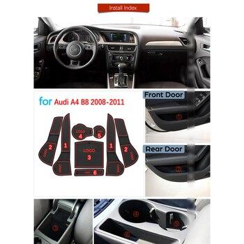 Dla Audi A4 B8 2008 2009 2010 2011 A4 8K RS4 S4 S linia RS antypoślizgowe gumowe maty do schowków mata na kubki Coaster akcesoria samochodowe naklejki