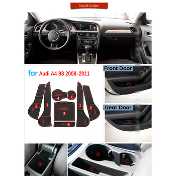 Para Audi A4 B8 2008 2009 2010 2011 A4 8K RS4 S4 S línea RS antideslizante de goma de la ranura de la puerta de la taza Mat Coaster accesorios de coche pegatinas