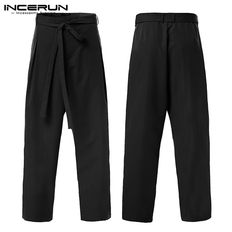 INCERUN England Trend Men Pure Color Wide Leg Casual Pants Mens Trousers With Belt Autumn Fashion Retro Elegant Suit Pants 2020
