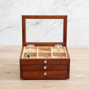 fashin 3layer wooden jewelry box with glass window organiser box jewerly organizer makeup organizer drawer
