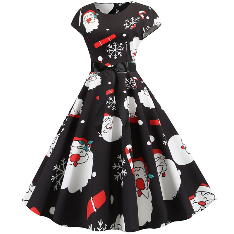 Women Christmas Party Dress robe femme Plus Size Elegant Vintage Short Sleeve Xmas Summer Dress Black Casual Midi Jurken Vestido 637