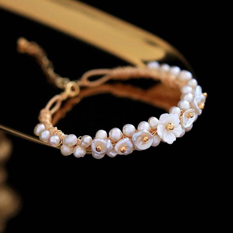Pearl Bracelet Handmade Natural Pearl Shell Flower Adjustable Bracelet For Women Girl Gift Fine Jewelry Wedding