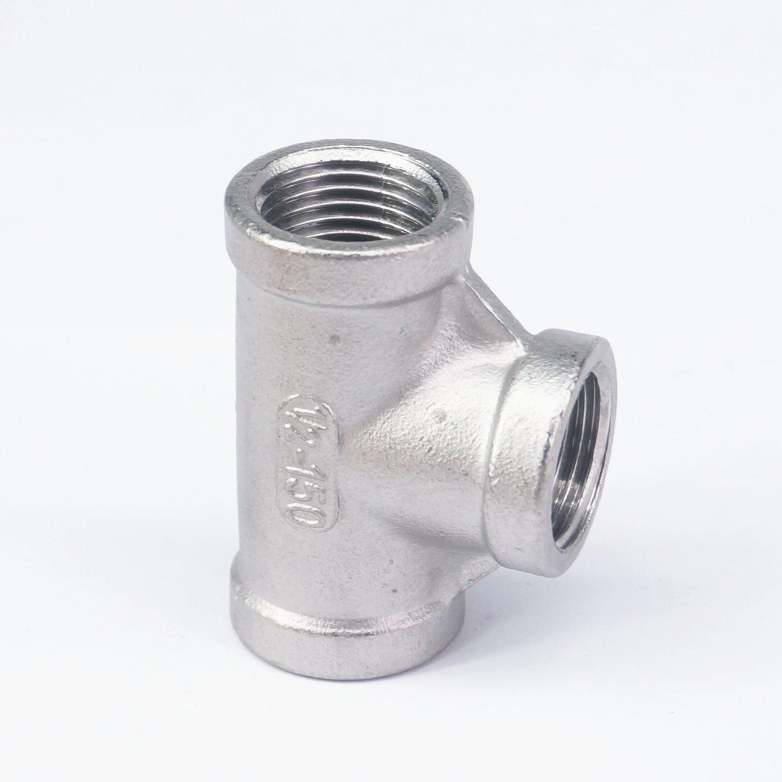 1/2 BSP Euqal Female Tee Thread 3 Way 304 Stainless Steel Pipe Fitting Connector Coupling for water air gas
