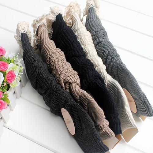 Women's Winter Crochet Lace Trim Leg Warmers Knit Knee High Boot Socks