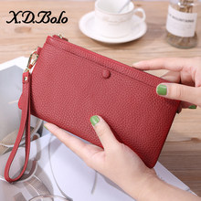 X.D.BOLO Fashion leather Women Wallet Clutch Women's Purse genuine leather Phone Wallet Female Case Phone Pocket Carteira Femme(China)