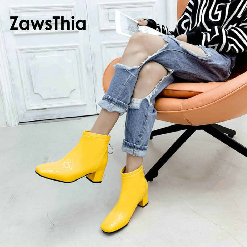 ZawsThia 2019 patent PU leather winter yellow white pink red woman ankle boots square med heels women martin boots size 33-51