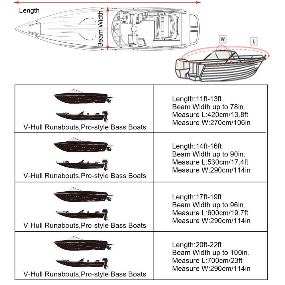 Extra Heavy Duty Boat Speedboat 600D Cover 20-22Ft Waterproof V-Hull Bag  />