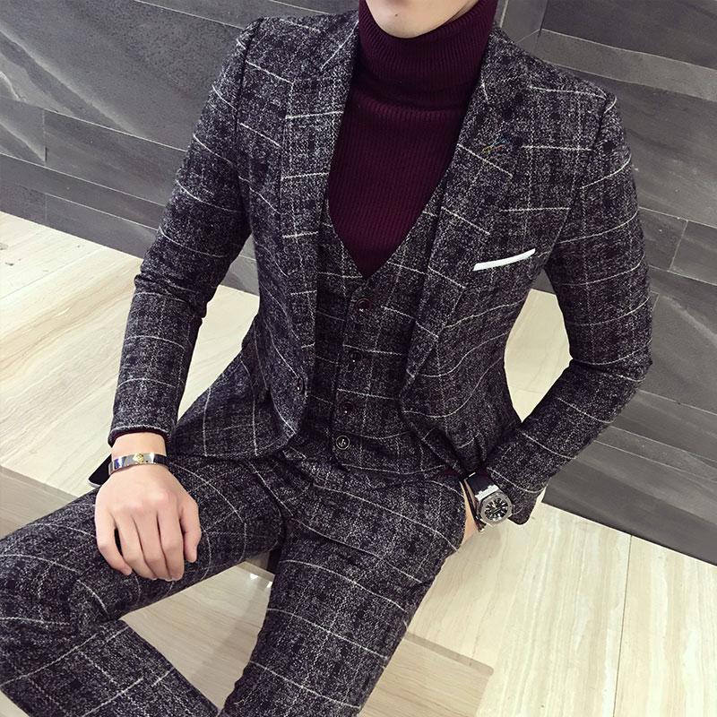 Hi-Q Groom Wedding Dress Plaid Formal Suits Set Men Fashion Boutique Wool Casual Business Suit Jackets Vest Pants