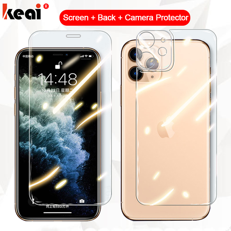 3-in-1 Full Cover For iPhone 12 Pro MAX mini Screen Protector Back Tempered Glass On For iPhone 11 P