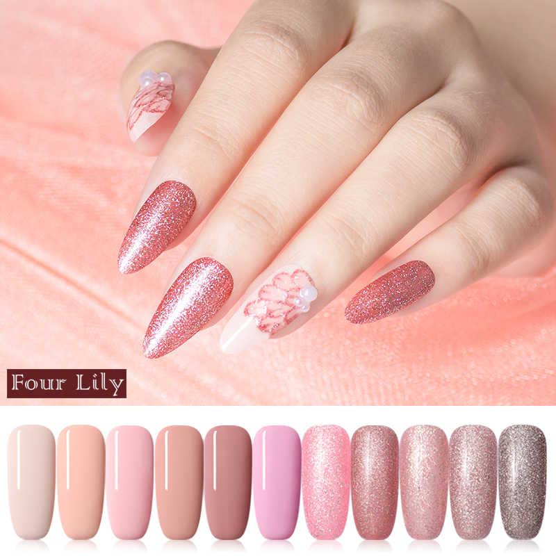Empat Lily 5 Ml Uv Gel Nail Polish Rose Emas Glitter Payet Rendam Off Gel Pernis Warna Kuku Gel Polandia DIY Nail Art Lacquer