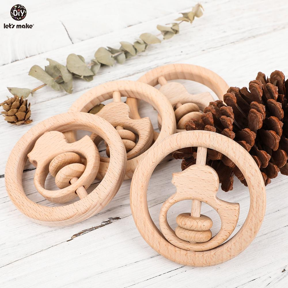Let'S Make 5Pcs Beech Wooden Ring Dark Wooden Teether Toys For Kids Rattle Bedding Toddler Toy Baby Teether