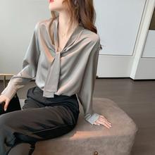 Spring Autumn Women's New Office Gray Chiffon Top Temperament Lady Shirt