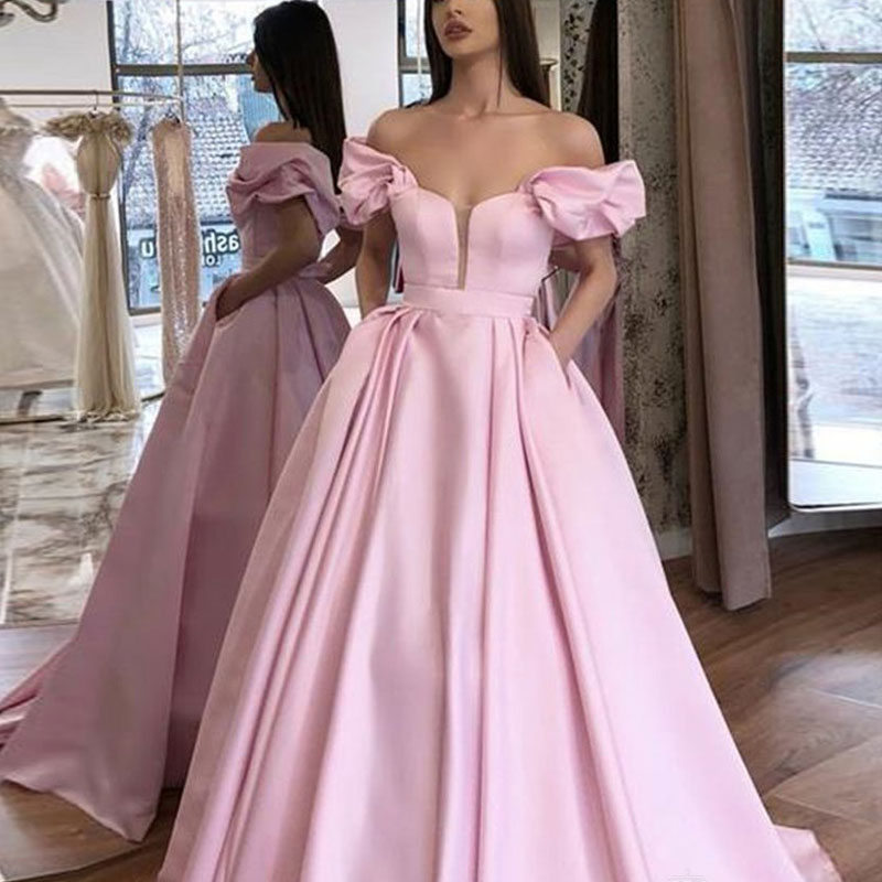 Puffy Sleeves Short Satin Prom Party Evening Dresses Vestido De Noiva Sereia Gown Satin Robe De Soiree Elegant Frock 2020