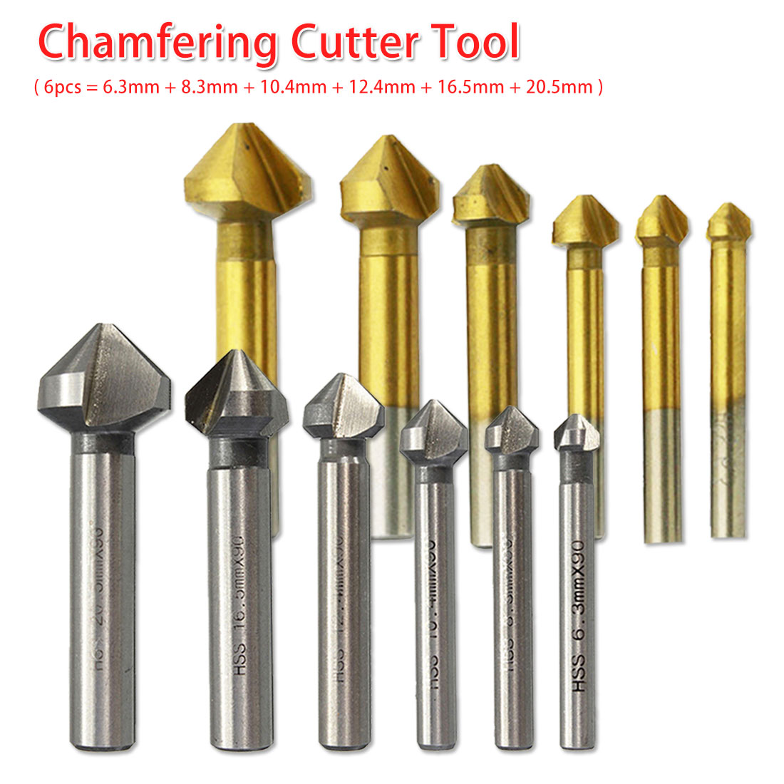 HSS Wood Steel Chamfer Cutter 6pcs/1pcs 3 Flute 90 Degree Countersink Drill Bit Round Handle 6.3-20.5mm For Carbon Steel/ PVC