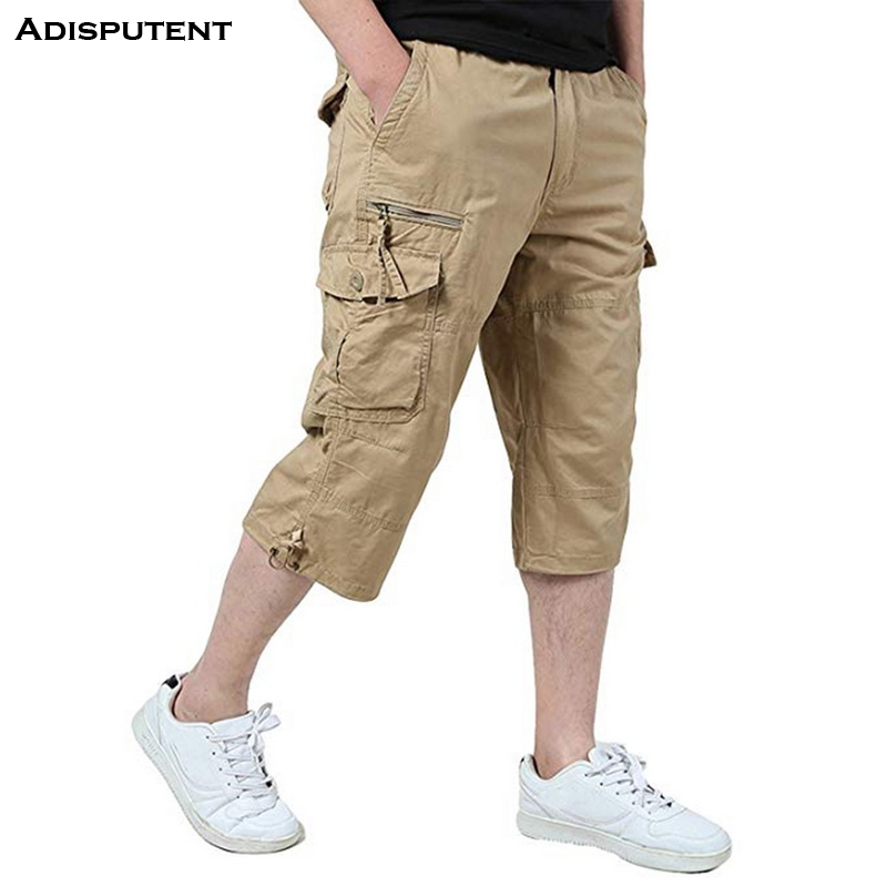 Trousers Pants Overalls Sports-Short-Pants Loose Mens Multi-Pocket Casual Man Male Calf-Length