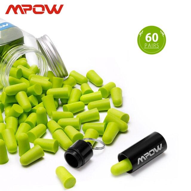 Mpow tapones para los oídos de espuma HP055, 60 pares, bloqueador de ruido/filtro, Protector auditivo, NRR, 32dB, reducción de ruido con Estuche de transporte para dormir