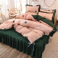 4Pcs Set Bed Skirt Home Bedroom bedding set luxury comforter bedding sets Bedding Removable Bed  cover bedding set полутораспальный tango 52a 70