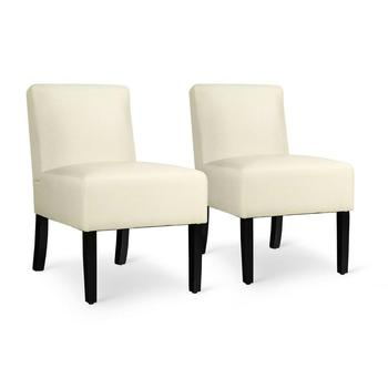 2 Accent Chair Upholstered Chairs w/ Wooden Legs 1