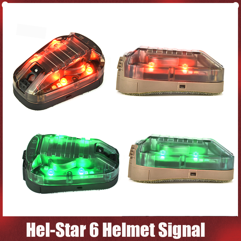 airsoft hel estrela 6 capacete sinal ir verde vermelho strobe flash luz capacete luz tatico militar