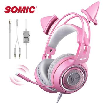 цена SOMIC G951s Pink Girl Cat Ear Gaming Headphone 3.5mm Plug Cute Headset for PC Xbox one PS4 Phone Pad Girl Kids Gaming Headset онлайн в 2017 году