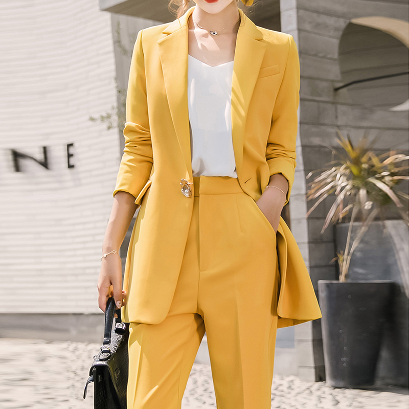 Fashion  Women Suits Single Button Female Pant Suits Blazer Jacket Straight Pencil Pant Casual 2 Pieces Set Femme Plus Size 4XL