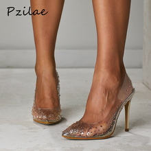 Pzilae модные стразы в сочетании с прозрачным ПВХ-материалом; туфли женские туфли-лодочки сапоги на шпильке, с острым носком обувь для вечеринки и свадьбы женская обувь золотого цвета