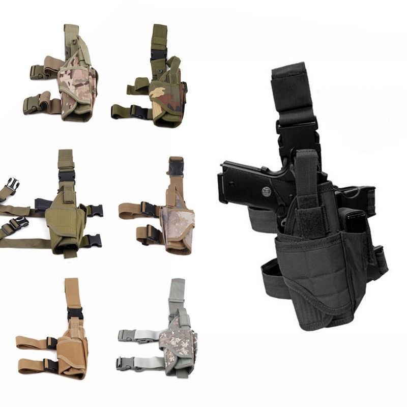 Tactical Pistol Airsoft Gun Drop Leg Thigh Holster Pouch Bag Right Hand Black Outdoor Tactical Pouch with Adjustable Magic Strap|holster pouch|pistol holster bag|thigh pistol holster - title=