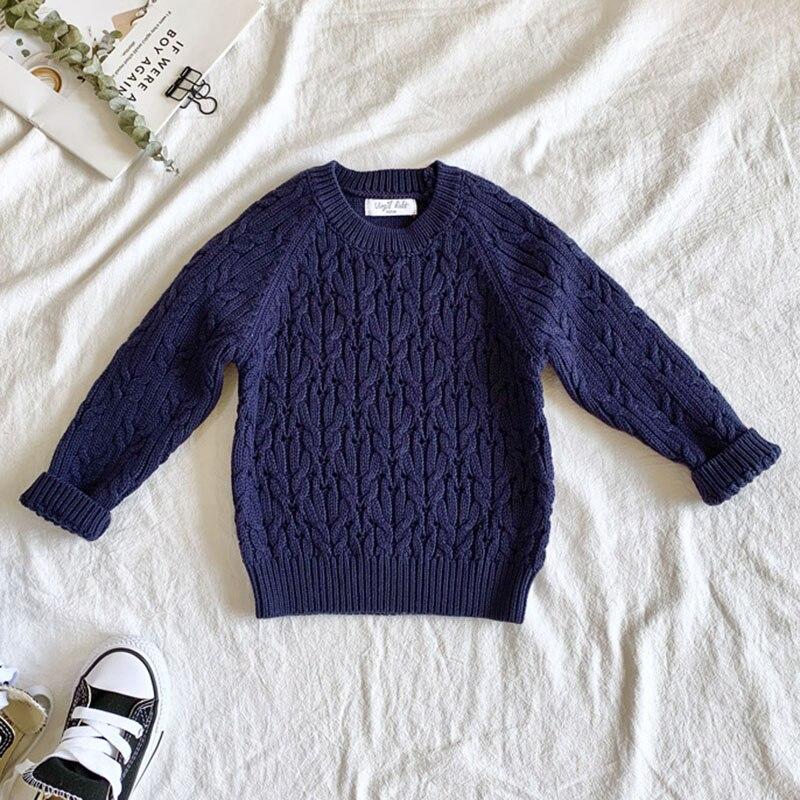 Autumn Winter Baby Kids Boys Long Sleeve Knit Sweater Baby Kids Boys Pure Color Pullover Sweaters Children's Clothes 2