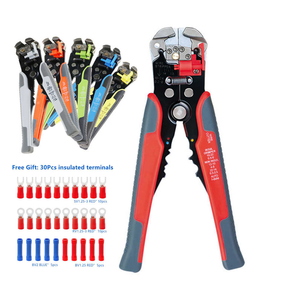HS-D1 5-in-1 Automatic Wire Stripper Cable Cutter Multitool Wire Stripping Tools Crimping Pliers Cable Crimper 0.2-6.0mm² HS-D2