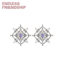 Endless Friendship Silver Geometric Diamond Earrings for women Stud earrings Woman fashion jewelry Creative earring gift