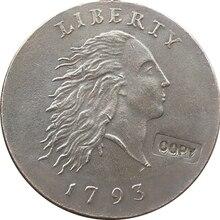 1793 цепная копия монет Копер производство Посеребренная