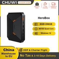 CHUWI-mini-pc Herobox, sistema Windows 10, Intel gemini-lake N4100, cuatro núcleos, LPDDR4, 8GB de RAM, SSD de 256G