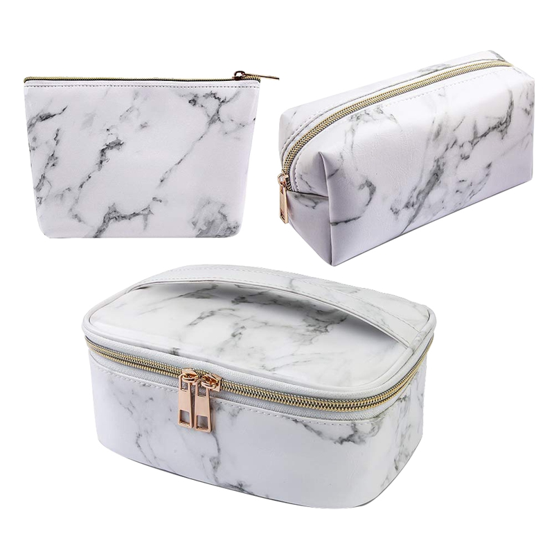 3 Piece Set Cosmetic Bag Portable Travel Cosmetic Bag Waterproof Storage Bag Multifunction Bag With Gold Zipper Marble Wash Bag