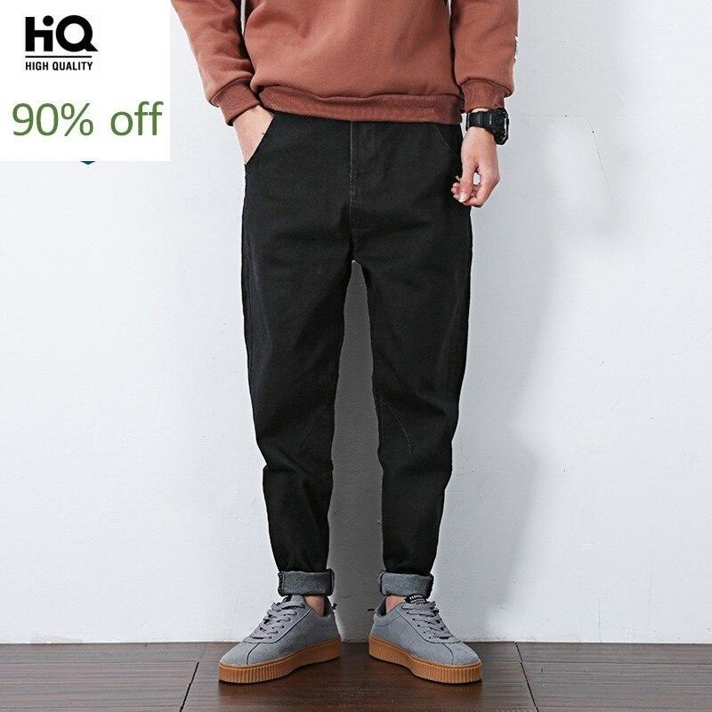2020 New Winter Mens Fleece Lining Jean Pants Plus Size Mens Black Cotton Harem Pants Male Casual Loose Fit Denim Pants M-6XL