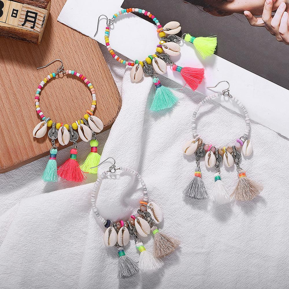 Charm Raffia Shell Round Cute Drop Earrings for Women 2019 Nifty Fairy Long More Style Hang Earring Daily Life Holiday Date Idea image