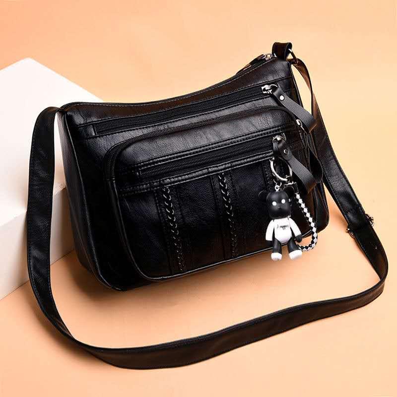 Leather Soft Middle-aged WOMEN'S Bag Shoulder Bag Large Capacity Soft Shoulder Bag Mother Shoulder Bag Leisure Shoulder Bag