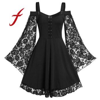 Fashion Gothic Dress For Women 2020 Patchwork Flare Sleeve Cross Corn Cold Shoulder Lace Up Insert Sling Dress Ladies Dresses lace applique lantern sleeve cold shoulder top