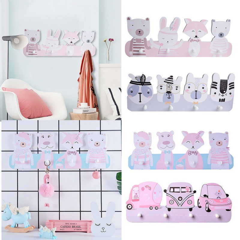 Home Decoration Children Room Hook Cute Concise Cloth Hat Hook Wall Mounted Rack Storage Rack