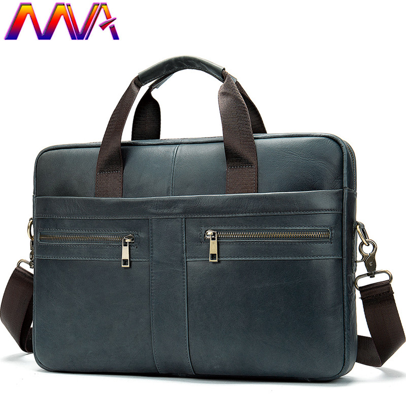 MVA Casual Leather Briefcase 100% Genuine Leather Men`s Shoulder Bag Women Briefcase Leather Handbag Cow Leather Men Briefcase
