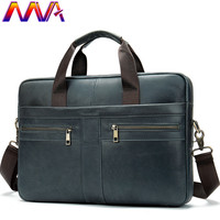 MVA Casual Leather Briefcase 100% Genuine Leather Men`s Shoulder Bag Women Briefcase Leather Handbag Cow Leather Men Briefcase