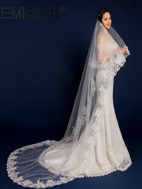 อุปกรณ์จัดงานแต่งงาน,3 เมตรยาวชั้นลูกไม้ผ้าคลุมหน้าเจ้าสาวสีขาวTulle Veils
